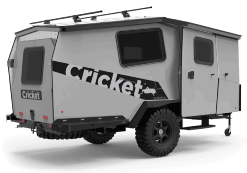 grey and black travel trailer on white background