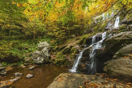 waterfalls and autumn foliage in shenandoah national park