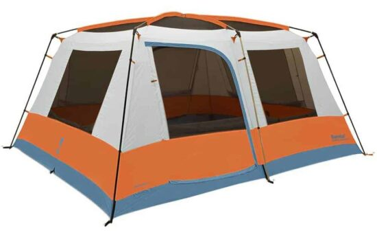 white, orange, and blue tent on white background