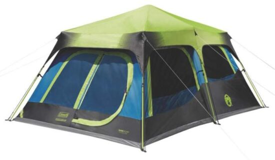 blue, black and green tent on white background