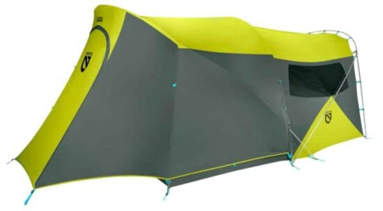 yellow and grey tent on white background