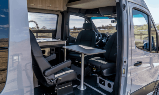 interior look at table in a converted van