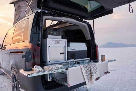 camper van kitchen set up