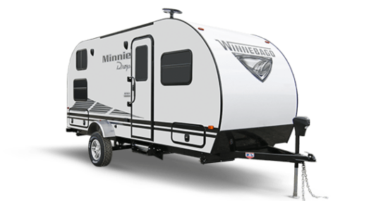 white travel trailer on white background
