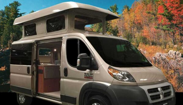 brown ram promaster with fall foliage in background