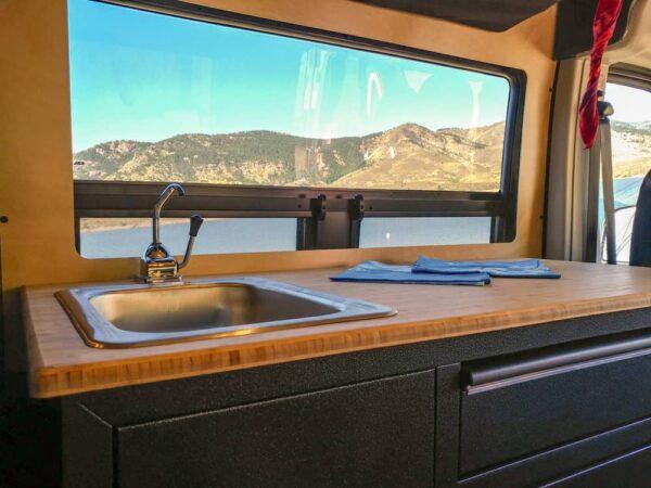 view of the kitchen in a vanworks van