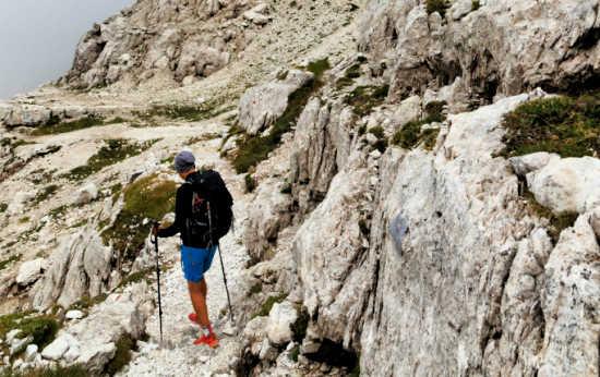 hiker on rocky terrain wearing non slip boots